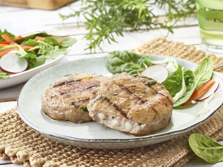 Hamburger di vitello con mozzarella e spinaci